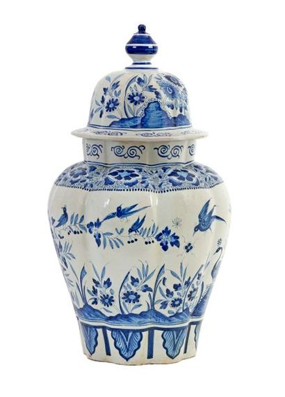 Large poly-lobed vase and lid in blue and white Delft earthenware, decorated with...