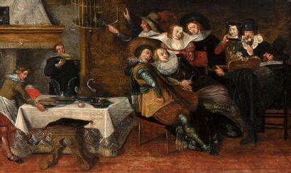 Attribué à Dirck HALS (Haarlem, 1591-1656) Allégories des cinq sens animées avec...