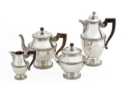 Louis XVI style coffee and tea set in silver 950/1000 including coffee pot, teapot,...