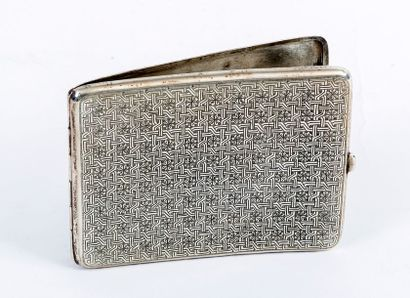 Cigarette case in chased silver decorated with the ancient coat of arms of Iran...