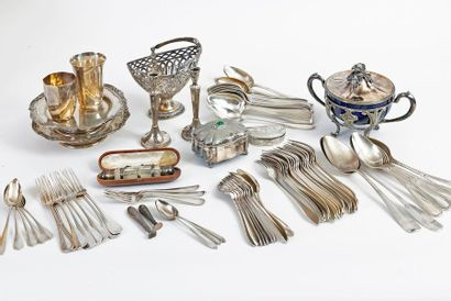 Large lot of silverware including: A quadripod jam maker with two handles in the...