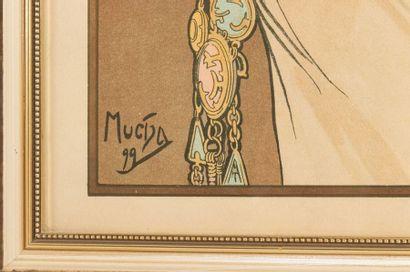 Alphonse MUCHA (1860-1939) La plume et La primevère Paire de chromolithographies...
