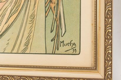 Alphonse MUCHA (1860-1939) La plume et La primevère Pair of chromolithographs on...