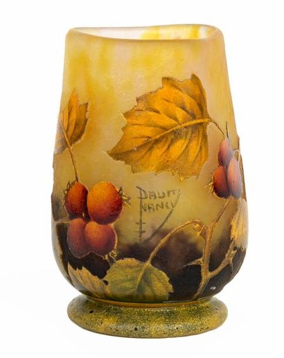 DAUM Nancy Small Art Nouveau style vase with triangular neck in multilayered acid-etched...
