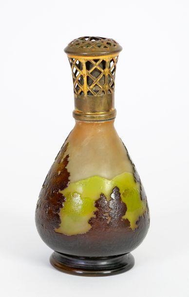 Émile GALLÉ (1846-1904) Art Nouveau style shepherd's lamp in acid-etched multilayer...