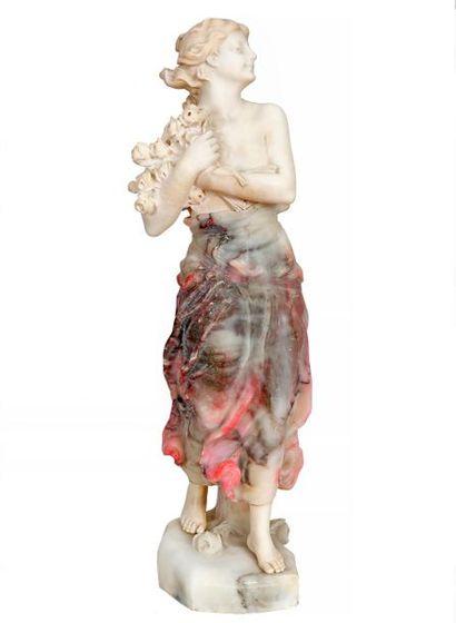 Dante ZOI (XIXe-XXe) Jeune fille aux fleurs...