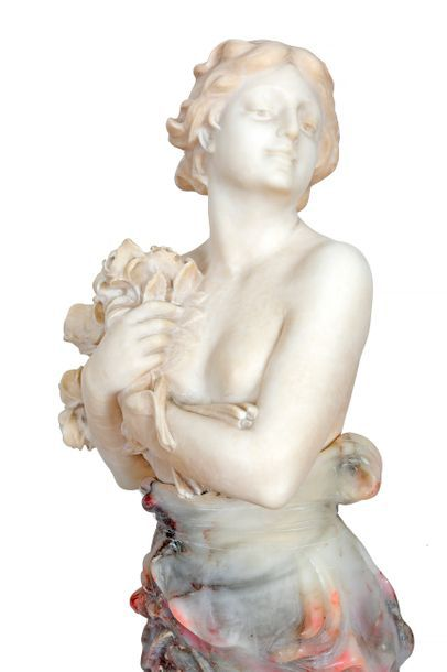 Dante ZOI (XIXth-20th) Young girl with flowers Signed D. Zoi H total: +/- 88 cm...