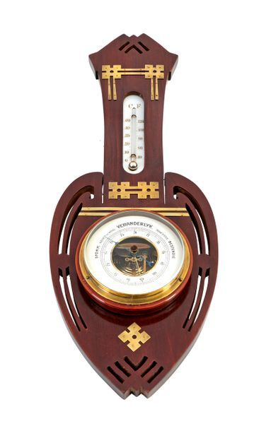 In the taste of Gustave SERRURIER-BOVY (1858-1910) Art Nouveau style wall barometer...