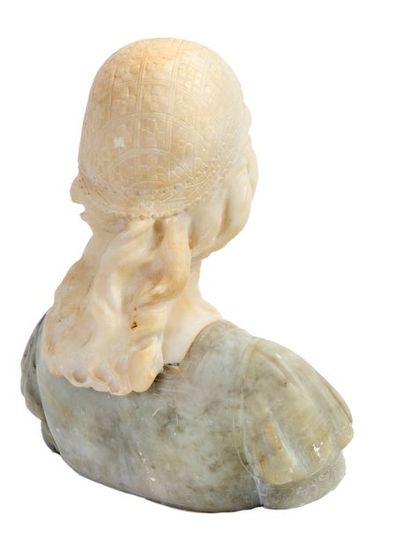 Italian School Bust of young girl with Renaissance headdress Carved alabaster Period...