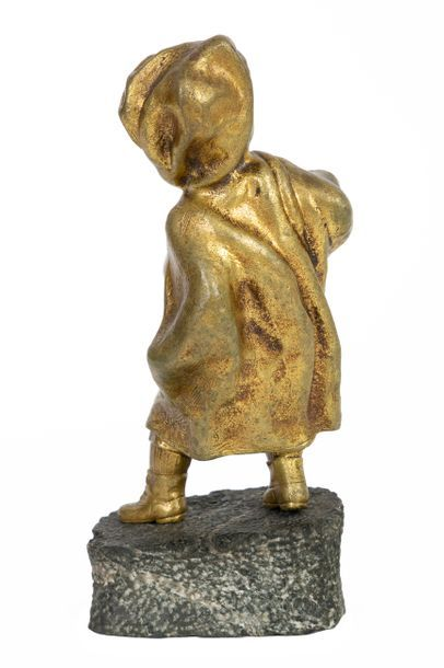 Affortunato GORY (1895-1925) Young schoolboy with hood Gilded bronze and carved...