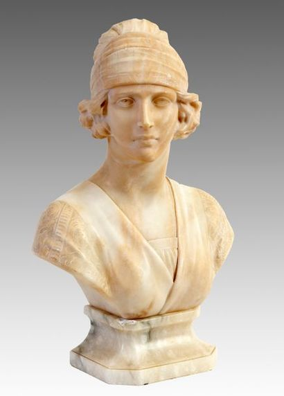 A. MICHELOTTI (19th-20th) Bust of a young girl with a turban Signed Signed Period...