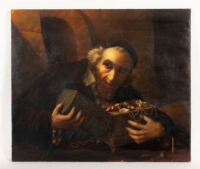 Alexis ZVETKOFF (XXth) The Miser Oil on canvas Signed lower left A. Zvetkoff and...