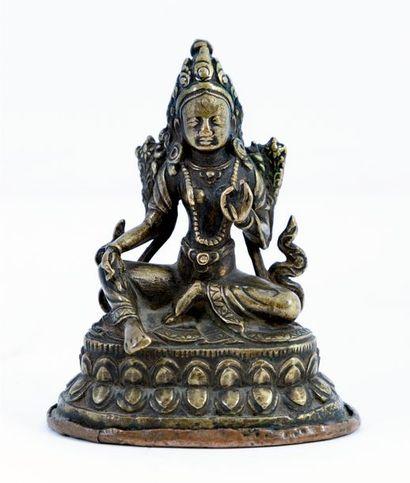 Tibet, XIXe siècle Tara assise sur une double...