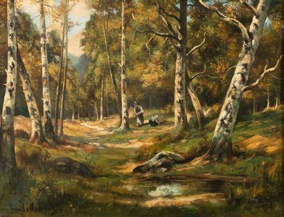 Camille MAGNUS (1850-?) Fagotières en forêt...