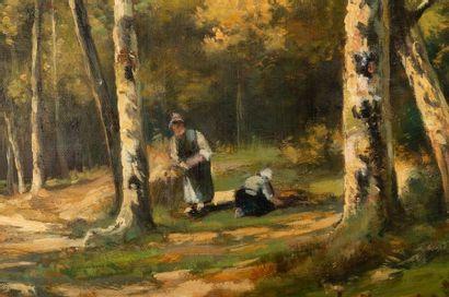 Camille MAGNUS (1850-?) Fagotières en forêt Oil on canvas Signed lower left 50 x...