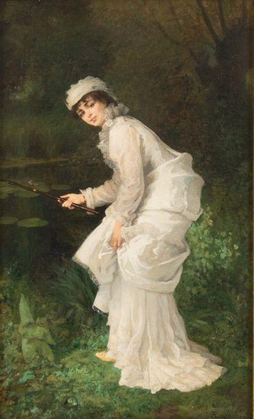 Armand LAROCHE (1826-1903) La pêche  Huile...