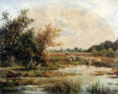 E. GARNIER (XIXe) Troupeau à l'étang Huile...