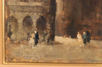 Henri LOGELAIN (1889-1968) Corner of the Grand-Place of Brussels animated under...