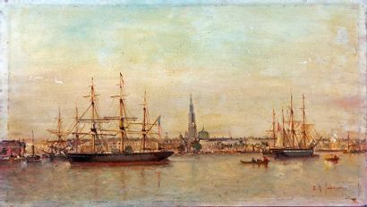Eugène-Gabriel JABONEAU (XIXth) View of the port of Antwerp with sailing ships Oil...
