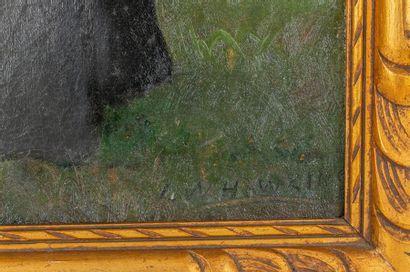 Louis Welden HAWKINS (1849-1910) Portrait of Elegant in Black Oil on canvas Signed...