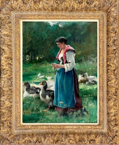 Julien DUPRE (1851-1910) The Goose Keeper Oil on canvas Signed lower left and dated...