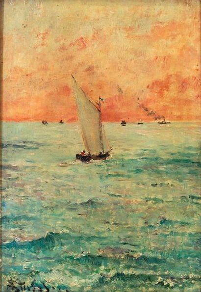 Alfred STEVENS (1823-1906) Marine au coucher...