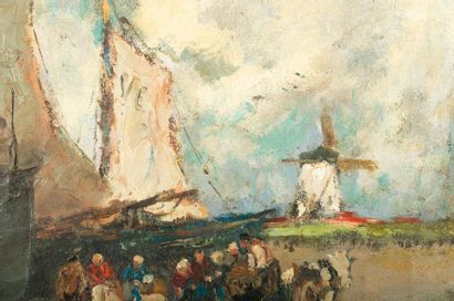 Gustave FLASSCHOEN (1868-1940) The Return of the Fishermen to Holland Oil on canvas...