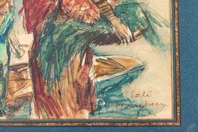 Gustave FLASSCHOEN (1868-1940) Le retour des pêcheurs dans le port de Rabat Watercolour...