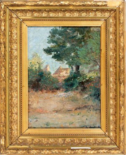 François NARDI (Nice, 1861-Toulon, 1936) View of a Provençal house Oil on pressed...