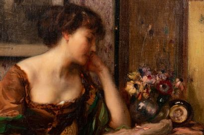 Fernand TOUSSAINT (1873-1955/56) Elegant in a flowery interior Oil on canvas Signed...