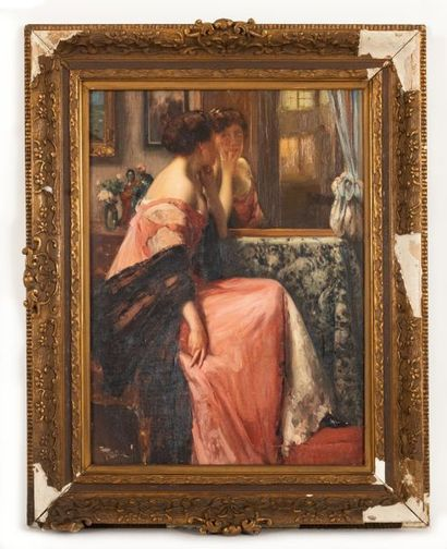 Fernand TOUSSAINT (1873-1955/56) Elegant with mirror Oil on canvas Signed lower...
