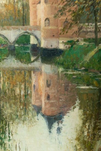 Fernand TOUSSAINT (1873-1955/56) Entrance of the Château de Grand-Bigard Oil on...