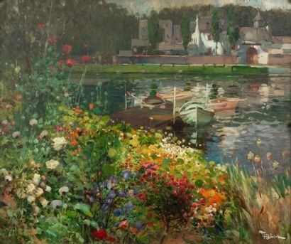 Fernand TOUSSAINT (1873-1955/56) Bord de lac fleuri Oil on mahogany panel Signed...