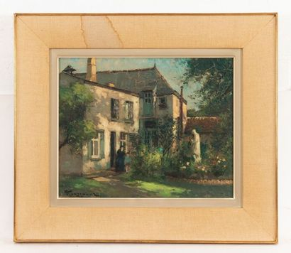 Fernand TOUSSAINT (1873-1955/56) Jardin de la cure animated Oil on cardboard Signed...