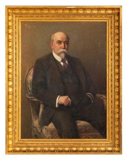 Fernand TOUSSAINT (1873-1955/56) Portrait of a notable Oil on canvas Signed upper...