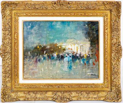 Lucien FRANK (1857-1920) Coin animé sur les Champs Elysées Oil on panel Signed lower...