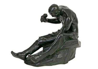 Constantin MEUNIER (1831-1905) The stonemason Br onze with green patina Signed C....
