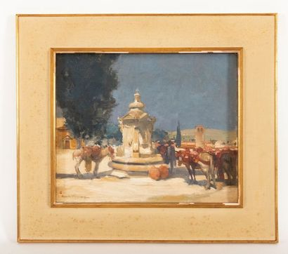 Charles SWYNCOP (1895-1970) Animated square in Spain Oil on canvas Signed lower...
