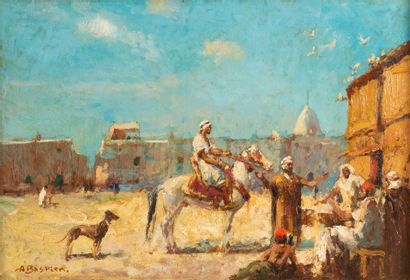 Alfred BASTIEN (1873-1955) Cavalier sur une...