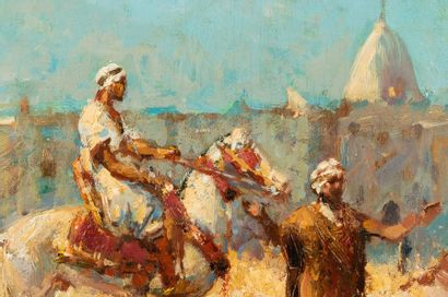 Alfred BASTIEN (1873-1955) Rider on an animated square in North Africa Oil on panel...