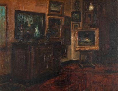 Alfred BASTIEN (1873-1955) Intérieur au chevalet...