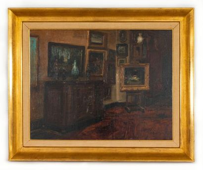 Alfred BASTIEN (1873-1955) Interior on easel Oil on canvas Signed lower right A....
