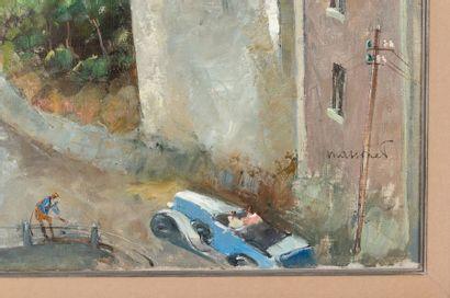 Armand MASSONET (1892-1979) Coin animé de la ville du Luxembourg Oil on canvas Signed...