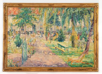 Alfred PIETERCELIE (1879-1955) Cour d'estaminet animated in summer Oil on canvas...