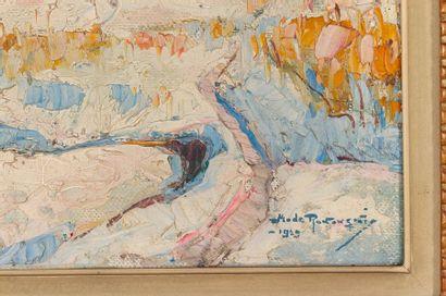 Mécislas de RAKOWSKI (1882-1947) Le village sous la neige Oil on canvas Signed lower...
