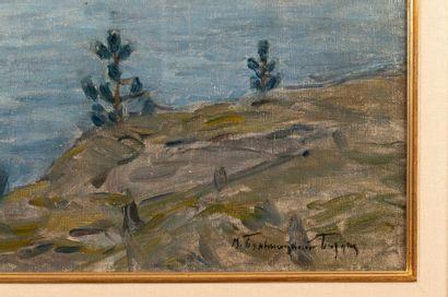 Witold BIALYNITSKI-BIRULJA (1872-1957) Tchastouchki Oil on canvas Signed in Cyrillic...