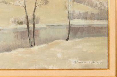 Witold BIALYNITSKI-BIRULJA (1872-1957) End of Winter Oil on canvas Signed lower...