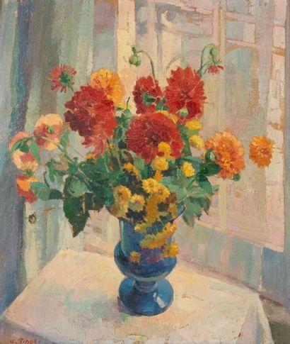 Albert PINOT (1875-1962) Vase de fleurs devant...