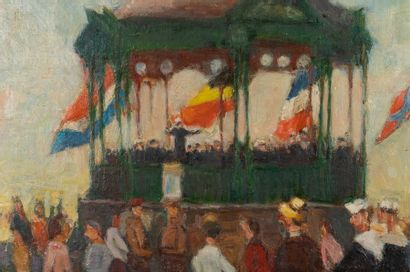 Marcel STOBBAERTS (1899-1979) The Kiosk at the Place d'Armes in Ostend Oil on canvas...