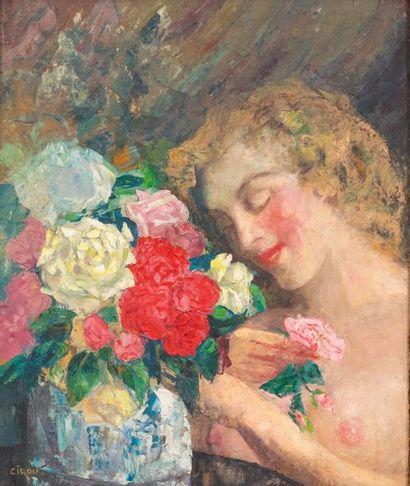 Paul CIROU (1869-1951) Jeune femme aux fleurs...